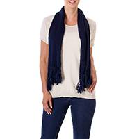 Cotton scarf, 'Salvadoran Beauty' - Crocheted Cotton Scarf in Navy with Eyelet Patterns