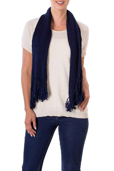 Crocheted Cotton Scarf in Navy with Openwork Patterns