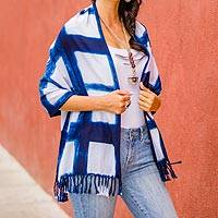 Cotton shawl, 'Pleasant Plaid' - Indigo and White Cotton Wrap Shawl from El Salvador