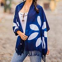 Cotton shawl, 'Indigo Allure' - Indigo and White Cotton Wrap Scarf from Guatemala