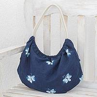 Tie-dyed cotton hobo handbag, 'Indigo Butterfly World' - Butterfly Motif Tie-Dyed Cotton Hobo Handbag in Indigo