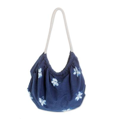 Butterfly Motif Tie-Dyed Cotton Hobo Handbag in Indigo
