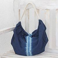 Tie-dyed cotton hobo handbag, 'Indigo Vision' - Indigo Tie-Dyed Cotton Hobo Handbag from El Salvador