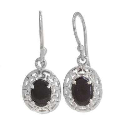 Geometric Jade Dangle Earrings in Black from Guatemala