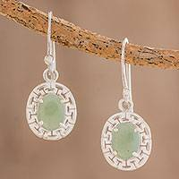 Jade dangle earrings, 'Ancestral Pride in Apple Green' - Geometric Jade Dangle Earrings in Apple Green from Guatemala