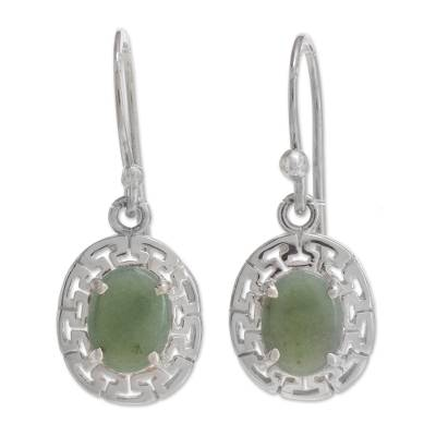 Geometric Jade Dangle Earrings in Apple Green from Guatemala