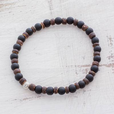 Men's onyx beaded bracelet, 'Conqueror' - Men's Onyx Coconut Shell Sterling Silver Beaded Bracelet
