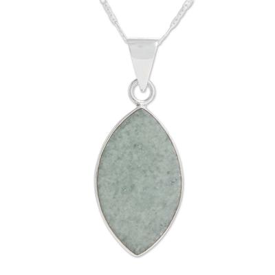 Jade pendant necklace, 'Vibrant Leaf' - Reversible Apple and Dark Green Jade Pendant Necklace