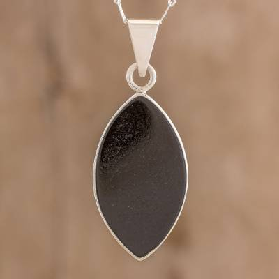 Jade pendant necklace, 'Ancient Leaf' - Reversible Black and Light Green Jade Pendant Necklace