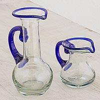 Small recycled glass pitchers, 'Clear Seas' (pair) - Handblown Small Recycled Glass Pitchers (Pair)