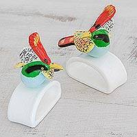 Ceramic napkin holders, 'Rufous-Crested Coquette' (pair) - Handcrafted Coquette Bird Ceramic Napkin Holders (Pair)