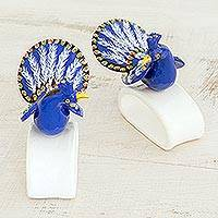 Ceramic napkin holders, 'Blue-Plumed Peacock' (pair) - Handcrafted Blue Peacock Ceramic Napkin Holders (Pair)