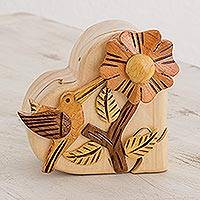 Wood puzzle box, 'Love For Nature' - Wood Hummingbird Puzzle Box from Guatemala