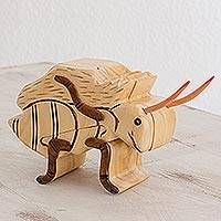 Wood puzzle box, 'Charming Ant' - Wood Ant Puzzle Box from Guatemala