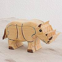 Wood puzzle box, 'Charming Rhinoceros' - Wood Rhinoceros Puzzle Box from Guatemala