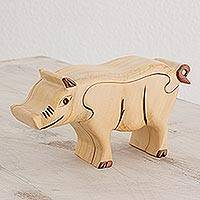 Wood puzzle box, 'Charming Pig' - Wood Pig Puzzle Box from Guatemala