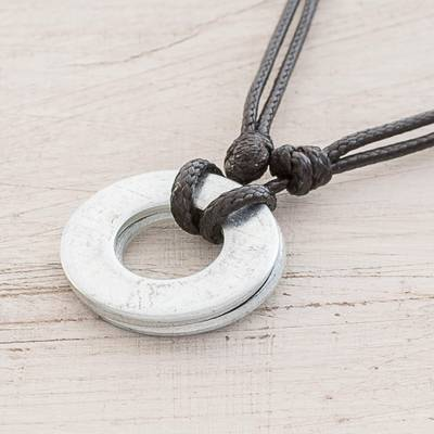 Upcycled metal pendant necklace, Rings of Strength