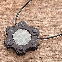 Jade pendant necklace, 'Chain Hexagon' - Jade and Upcycled Metal Pendant Necklace from Guatemala