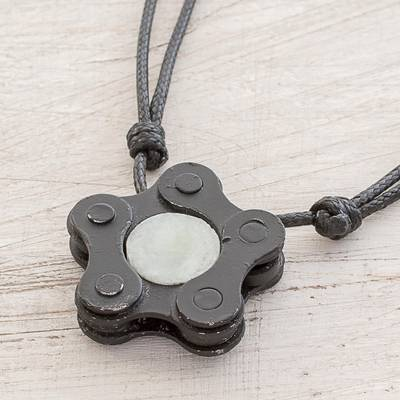 5d08f2c98720d Pentagon Upcycled Metal and Jade Pendant Necklace, 'Chain Pentagon'