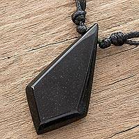 Jade pendant necklace, 'Real Stone' - Adjustable Jade Pendant Necklace in Black from Guatemala