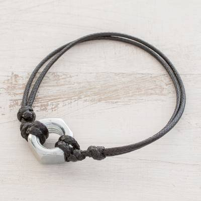 Upcycled metal pendant bracelet, Simply Strong