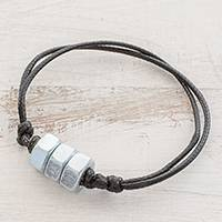 Upcycled metal pendant bracelet, 'Mechanic Rotation' - Upcycled Metal Trio Pendant Bracelet from Guatemala