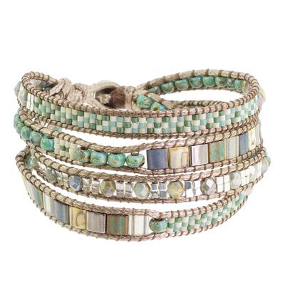 Glass beaded wristband bracelet, 'Aqua Pastel' - Pastel-Colored Glass Beaded Wristband Bracelet