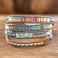Glass beaded wristband bracelet, 'Atitlan Fiesta'