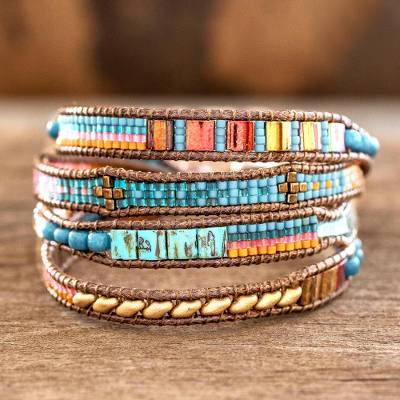 Glass beaded wristband bracelet, 'Atitlan Fiesta' - Glass Beaded Wristband Bracelet in Blue from Guatemala