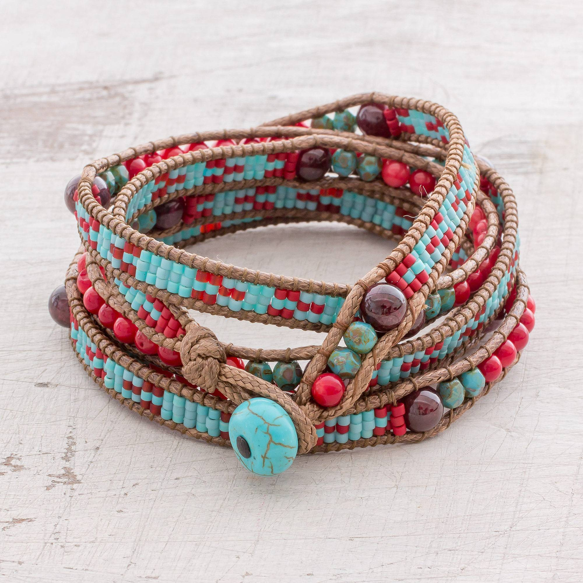 Garnet Beaded Wrap Bracelet In Red And Blue From Guatemala Dreams Of Color