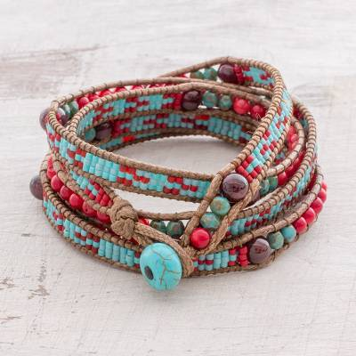 Garnet beaded wrap bracelet, 'Dreams of Color' - Garnet Beaded Wrap Bracelet in Red and Blue from Guatemala