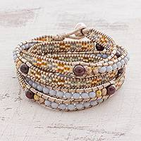 Garnet beaded wrap bracelet, 'Starry Sea' - Garnet Beaded Wrap Bracelet Crafted in Guatemala