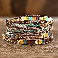 Glass beaded wrap bracelet, 'Harmony Shore' - Colorful Glass Beaded Wrap Bracelet from Guatemala