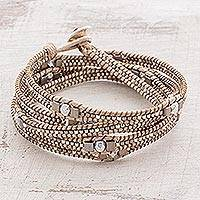Featured review for Glass beaded wrap bracelet, Splendorous Beach