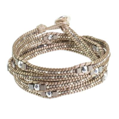 Glass beaded wrap bracelet, 'Splendorous Beach' - Glass Beaded Wrap Bracelet in Beige from Guatemala