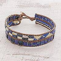 Glass beaded wristband bracelet, 'Seafaring Beauty' - Glass Beaded Wristband Bracelet in Deep Blue from Guatemala