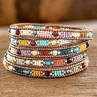 Glass beaded wrap bracelet, 'Colorful Festival' - Colorful Glass Beaded Wrap Bracelet from Guatemala