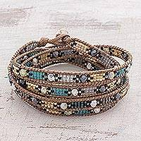 Glass beaded wrap bracelet, 'Fleeting Star' - Shining Glass Beaded Wrap Bracelet from Guatemala