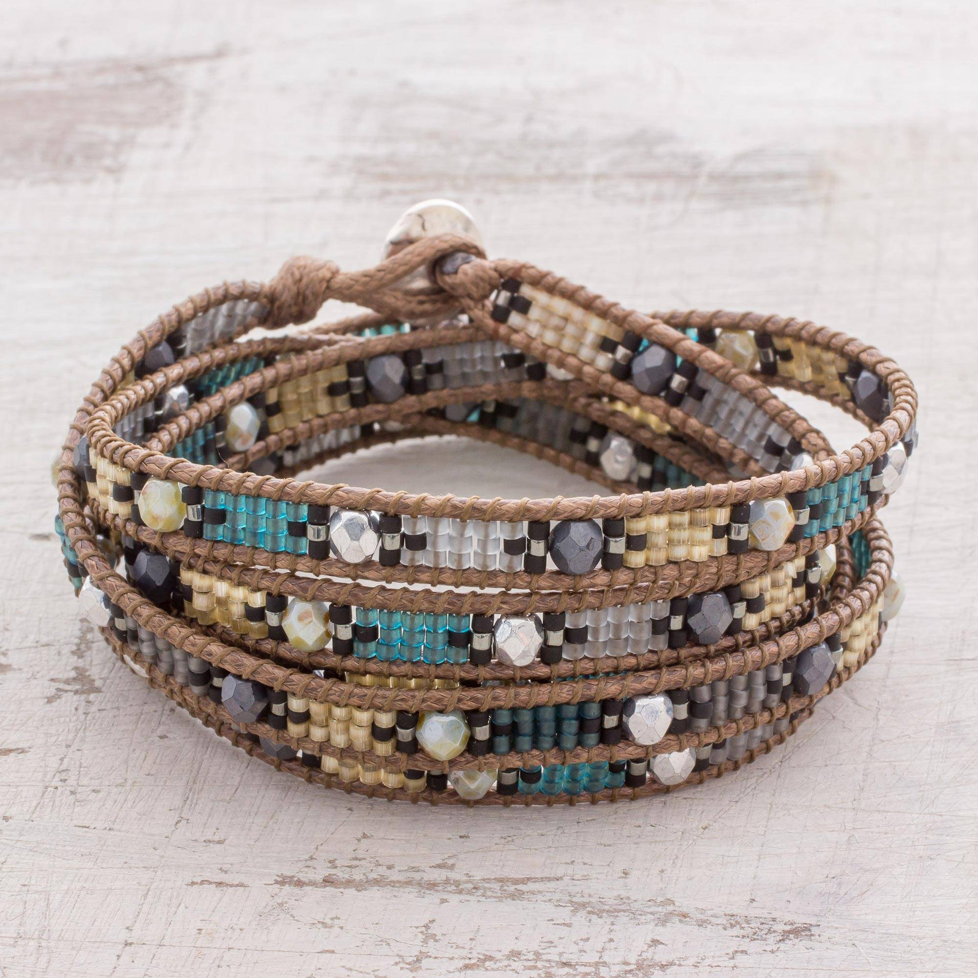 Shining Gl Beaded Wrap Bracelet From Guatemala Fleeting Star