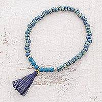 Glass beaded stretch bracelet, 'Variegated Ocean' - Glass Beaded Stretch Bracelet in Blue from Guatemala