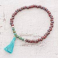 Glass beaded stretch bracelet, 'Red Reef' - Glass Beaded Stretch Bracelet in Red from Guatemala