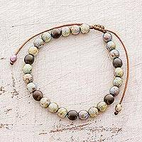 Glass beaded bracelet, 'Pearlescent Beauty' - Pearlescent Glass Beaded Bracelet from Guatemala
