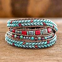 Glass beaded wrap bracelet, 'Bays of Guatemala' - Red and Blue Glass Beaded Wrap Bracelet from Guatemala