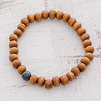 Men's jade and wood beaded stretch bracelet, 'Natural Look' - Men's Brown Pinewood Dark Green Jade Bead Stretch Bracelet