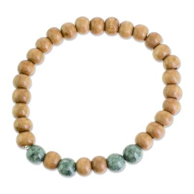 Jade and Pinewood Beaded Stretch Bracelet from Guatemala