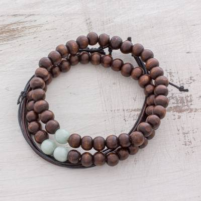 Men S Jade Wood And Leather Bracelets Focused Set Of 3