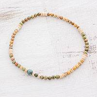Multi-gemstone beaded stretch anklet, 'Adventure Awaits' - Earth-Toned Jasper Unakite Jade Beaded Anklet