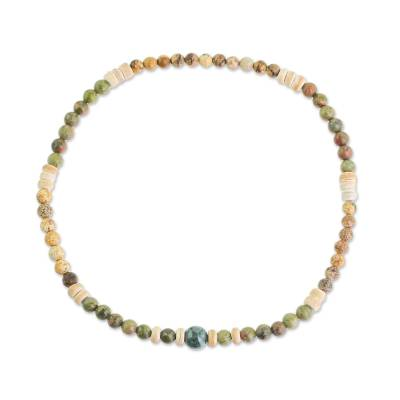 Earth-Toned Jasper Unakite Jade Beaded Anklet