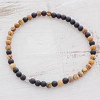 Onyx beaded ankle bracelet, 'Nature's Strength' - Unisex Matte Onyx and Jasper Beaded Ankle Bracelet