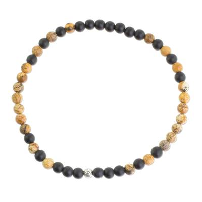Unisex Matte Onyx and Jasper Beaded Ankle Bracelet